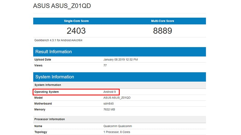 asus geekbench asus rog phone android 9 pie