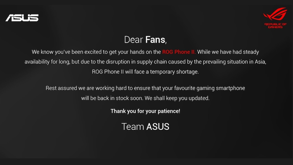 Coronavirus: Asus ROG Phone 2 Temporarily Goes Out of Stock in India