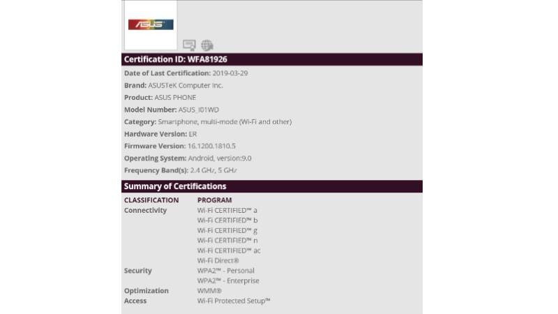 asus zenfone 6 purported listing wi fi alliance Asus ZenFone 6