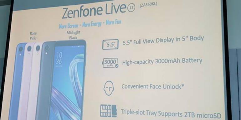 18:9 डिस्प्ले वाला पहला एंड्रॉयड गो स्मार्टफोन Asus ZenFone Live L1 लॉन्च