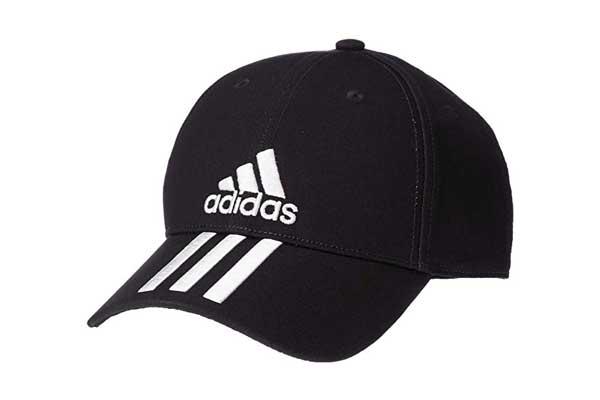 7b799c89c7a2c Adidas Unisex Black 6 Panel 3-Stripes Cotto Cap