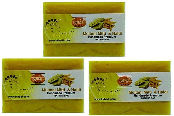 best brightening soaps in India Khadi Multani Mitti and Haldi Handmade Bathing Bar