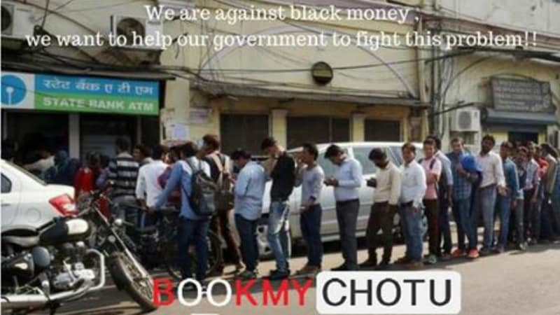 BookMyChotu.com Will Send Helpers to Stand in ATM Queues for You