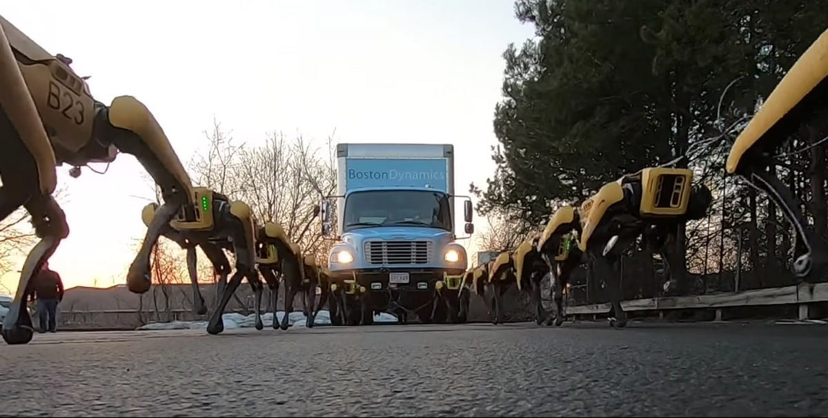 Boston Dynamics Shows Herd of Robotic Dogs Hauling a Truck With Ease