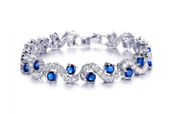 best bangle bracelets in india royal Blue Crystal Silver Chain Bracelet for Women