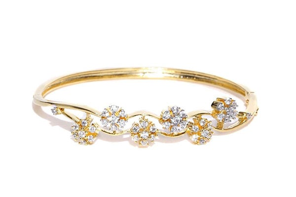 best bangle bracelets in india Zaveri Pearls Bracelet for Women – Golden