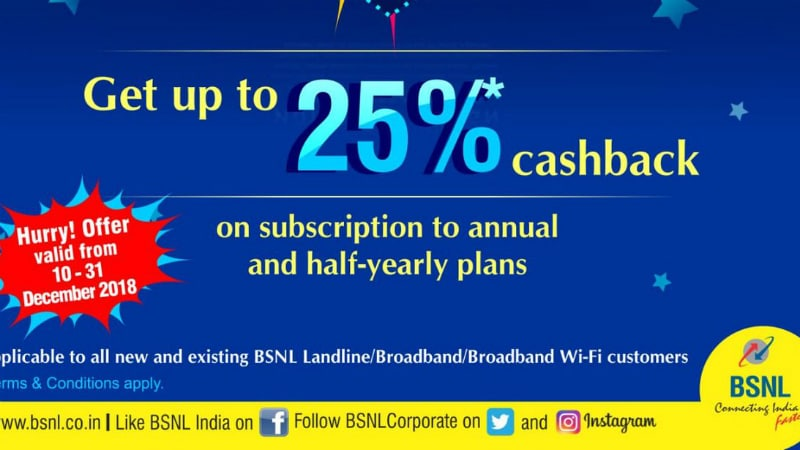 BSNL Offers 25 Percent Cashback on Annual, Half-Yearly Broadband Plans