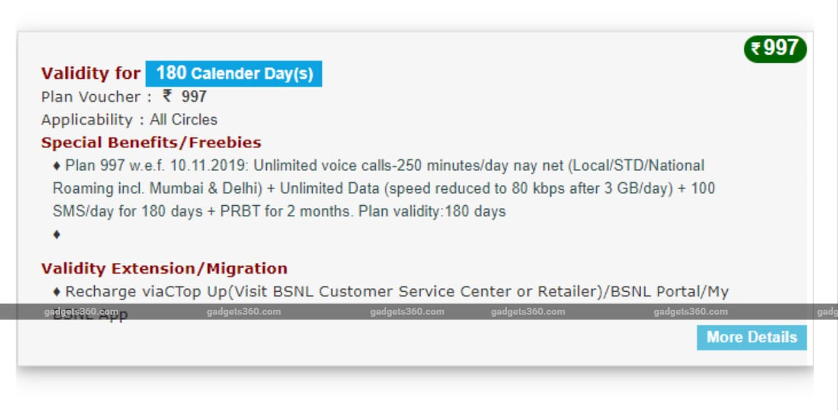 BSNL Rs. 997 Long-Term Prepaid Recharge Launched With 3GB Daily Data, 180 Days Validity