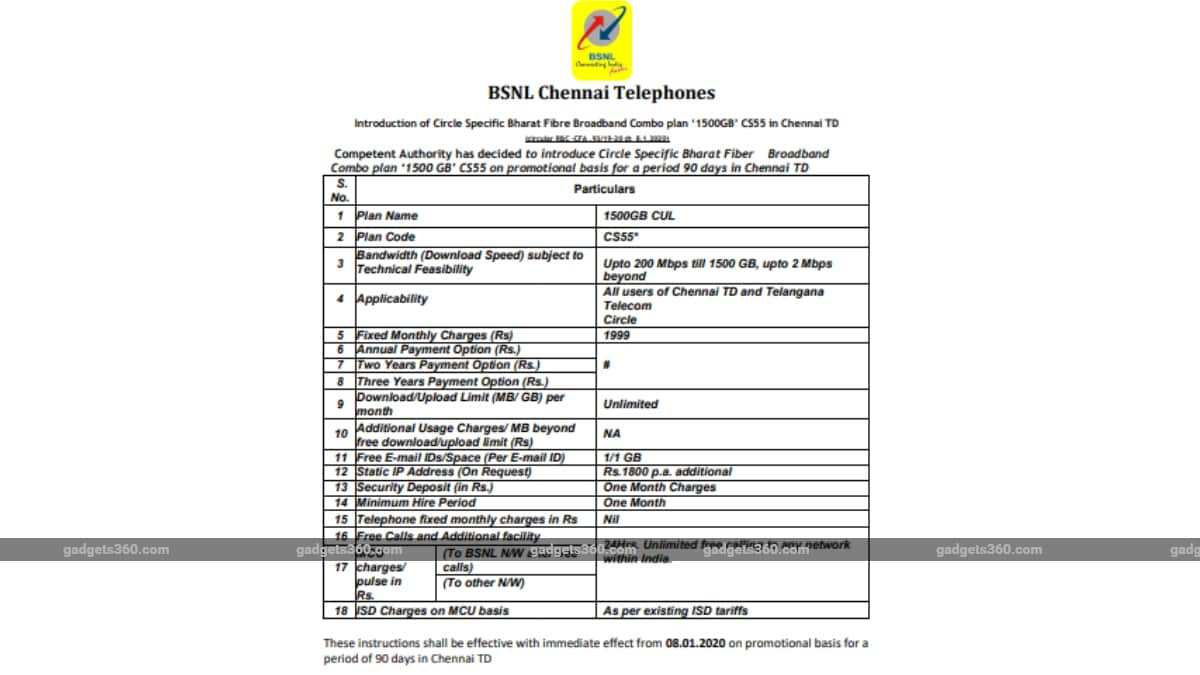 BSNL Rs. 1,999 Bharat Fiber Broadband Plan Launched With 200Mbps Speeds, 1.5TB Data FUP