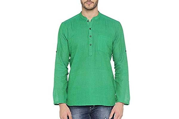 best casual kurta for men in india Indus Route by Pantaloons Men's Kurta - Green
