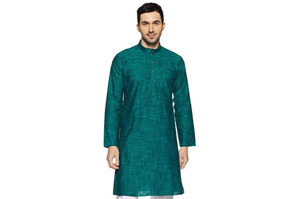 best casual kurtas for men in india Manyavar Men's Full Sleeve Knee-Long Blended Kurta