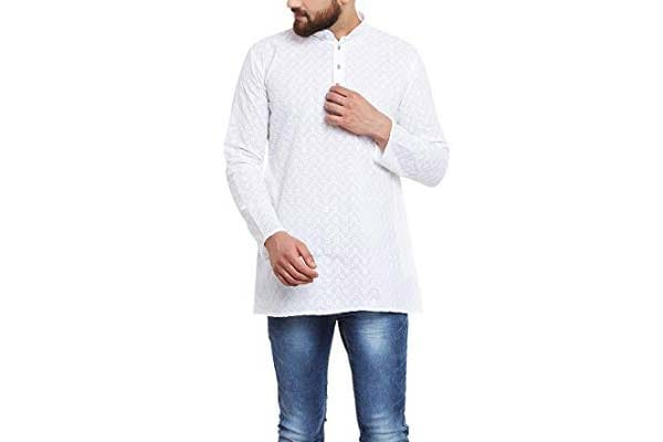 best casual kurta for men in india Sojanya (Since 1958) Men's White Chicken Cotton Short Kurta