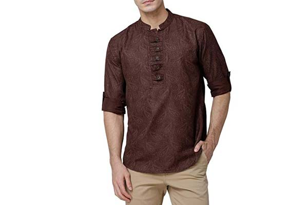 best casual kurta for men in india SVANIK Brown Blended Printed Casual Short Kurta