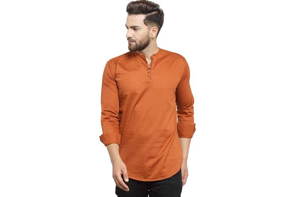 best casual kurta for men in india Pacman Brown Slim Fit Kurta Styled Casual Mens Cotton Shirt