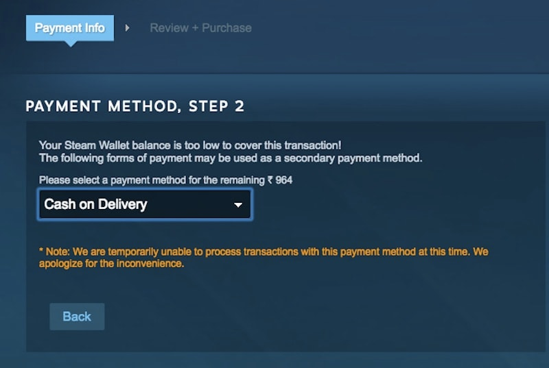 Steam Cash on Delivery, Net Banking, and Digital Wallet Payment