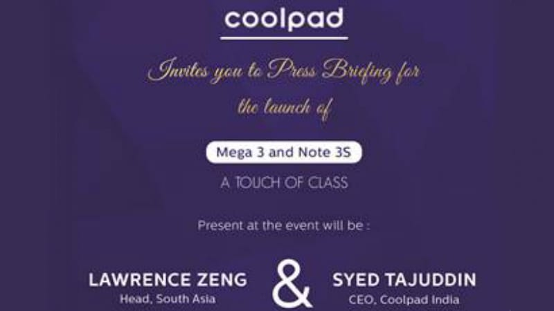 Coolpad Note 3S and Coolpad Mega 3 to Launch in India on Wednesday
