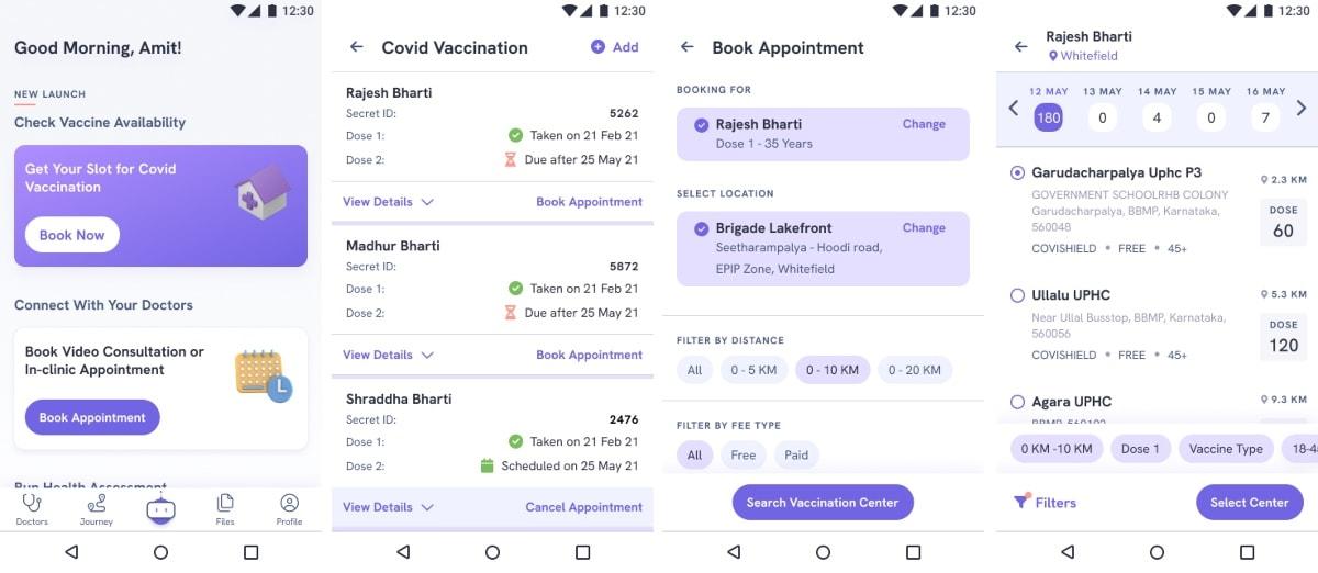covid 19 vaccine booking screenshots eka care COVID 19