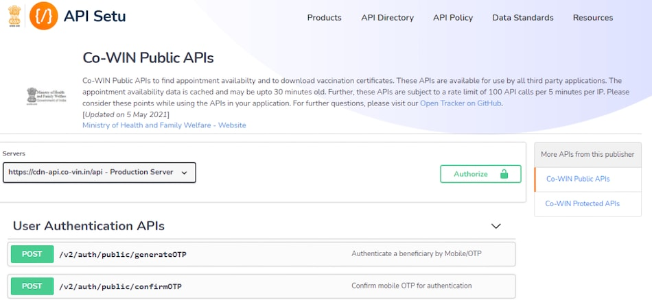 CoWIN Public API Guidelines Revised, Makes Real-Time Vaccine Slot Notification Sites Redundant