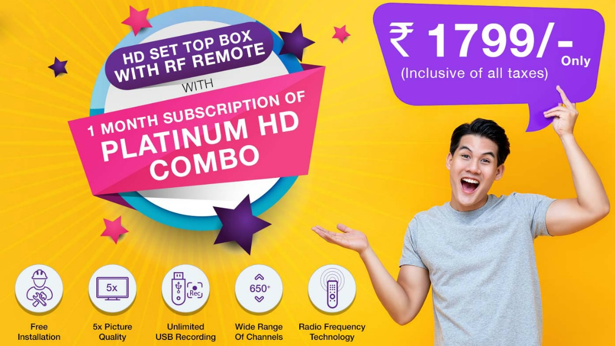 D2h's Rs. 1,799 HD Set-Top Box Now Comes With 1-Month Platinum HD Combo Subscription