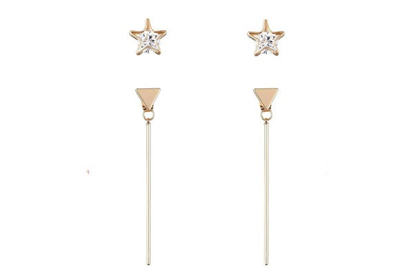 Dangler Earrings in India - Aaishwarya Golden Triangular Drop Bar Earrings