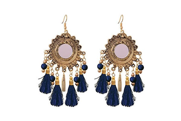 Dangler Earrings in India - Sitashi Fashion Jewelry Mirror and Tassel Dangler Earrings