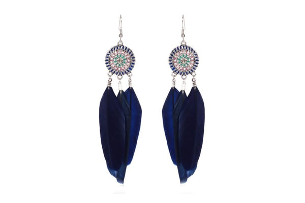 Dangler Earrings in India - Yellow Chimes Feather Good Finishing Drop Earrings