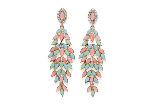 Dangler Earrings in India - Mahi Gold Plated Beautiful Multicolor Crystal Dangler Earrings