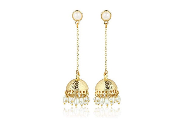 Dangler Earrings in India - Moonstruck Traditional Golden Long Drop Chain Dangler