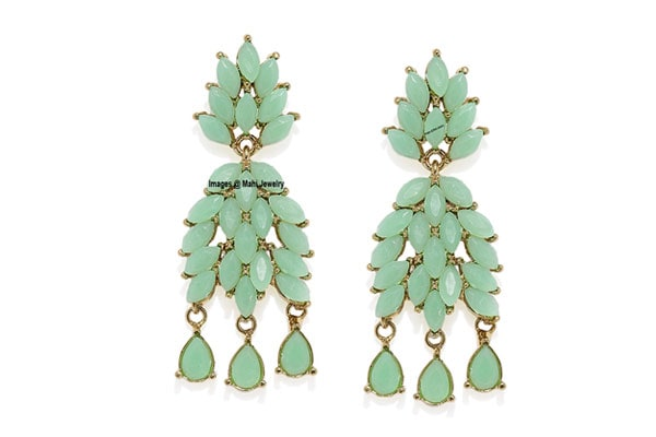 Dangler Earrings in India - Mahi Gold Plated Mint Dangler Earrings