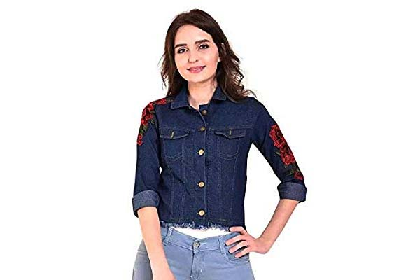 Best Women's Denim Jackets in India - MONTREZ Full Sleeve Applique Women's Denim Jacket
