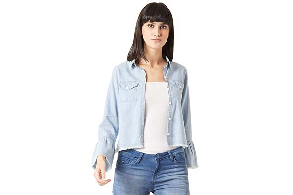 Best Women's Denim Jackets in India - Miss Chase Women's Light Blue Ruffled Denim Jacket