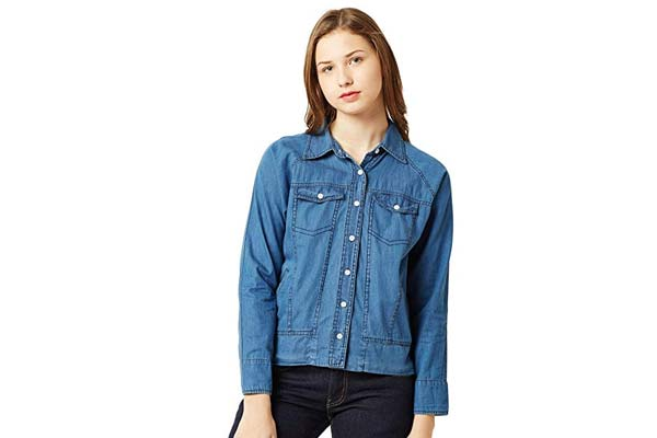 Best Women's Denim Jackets in India - Miss Chase Women's Blue Denim Bomber Jacket