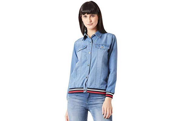 Best Women's Denim Jackets in India - Miss Chase Women's Blue Ribbed Denim Bomber Jacket
