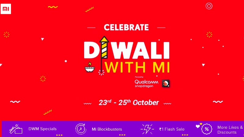 Diwali With Mi Re. 1 Flash Sale on Redmi Note 5 Pro Gold and Mi Compact Bluetooth Speaker 2
