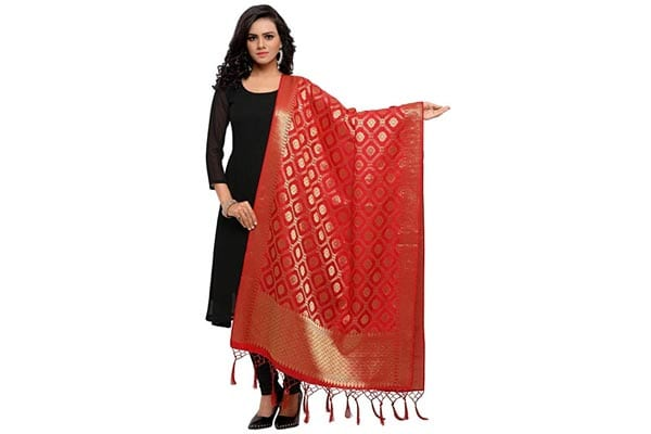 best ethnic dupatta for women Kanchnar Women's Silk Banarasi Ethnic Dupatta