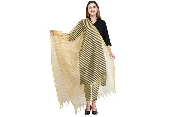 best ethnic dupatta for women Aksara Chanderi Striped Ethnic Dupatta