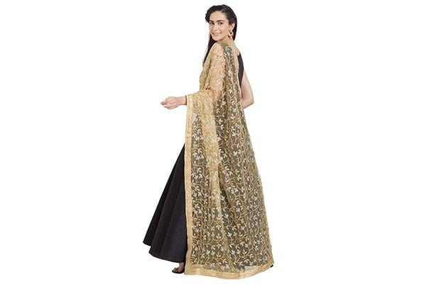 best ethnic dupatta for women Dupatta Bazaar Woman's Gold Embroidered Net Dupatta