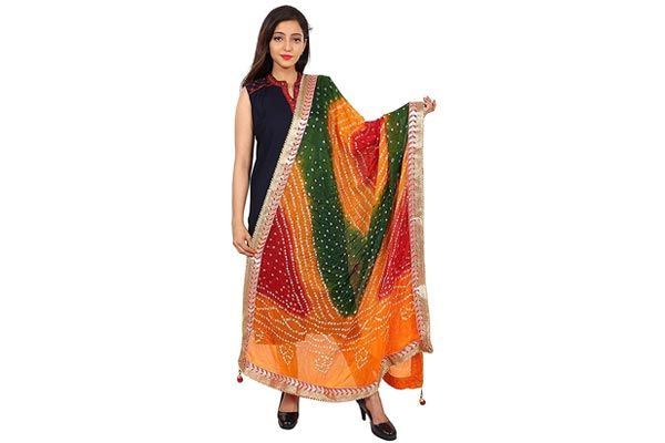 best ethnic dupatta for women in india Silk Embellished Women's Dupatta Bandhani Bandhej Jaipuri Rajasthani Dupatta