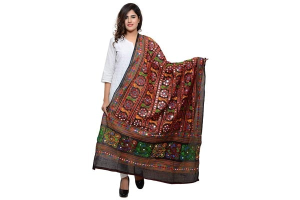 best ethnic dupatta for women Banjara Women's Kutchi Work Dupatta Bharchak