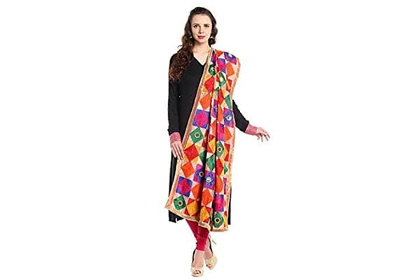 best ethnic dupatta for women in india Fashion Tree Women's Chiffon Phulkari Dupatta ft678, Multicolour
