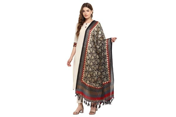best ethnic dupatta for women Applecreation Women'S Khadi Silk Dupatta With Jhallar