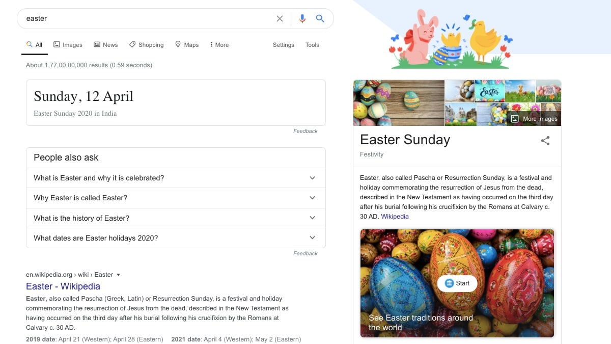Google Search Adds Actual Easter Eggs and 3D Easter Bunny to Mark Easter