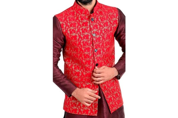 best ethnic jacket for mens in india Veera Paridhaan Men's Banarasi Print Nehru Jacket