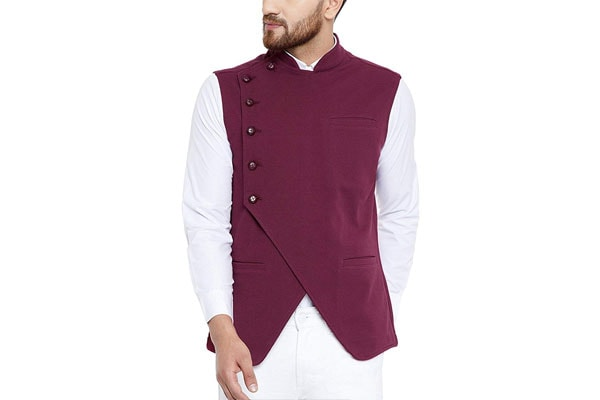 Hypernation best ethnic jackets for mens in india Maroon Color Cotton Side Button Asymetrical Waistcoat For Men