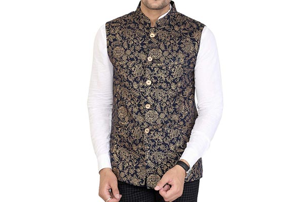 best ethnic jackets for mens in india OSHANO Cotton Printed Brown Men's Party Wear Sleeveless Waistcoat