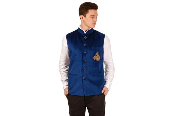 best ethnic jacket for mens in india Shri Ram & Sons Men's Solid Blue Waistcoat/Ethnic Jacket for Men