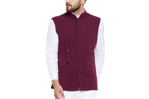 best ethnic jackets for mens in india Hypernation Maroon Color Cotton Waistcoat for Men