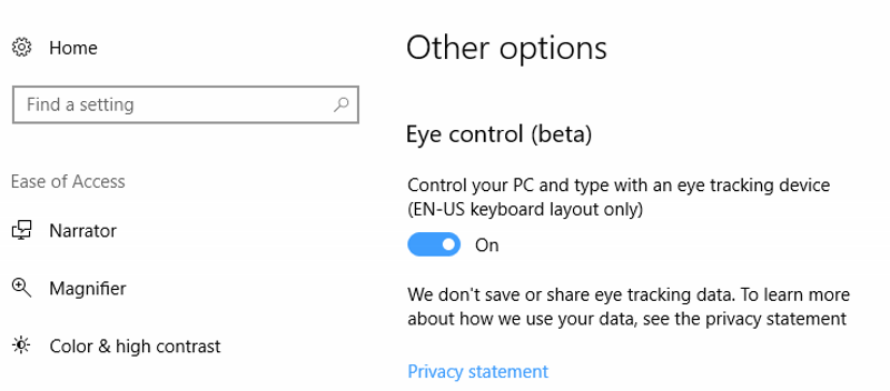 Windows 10 Gets 'Eye Control' Feature, Command Prompt Console Gets Colour Overhaul
