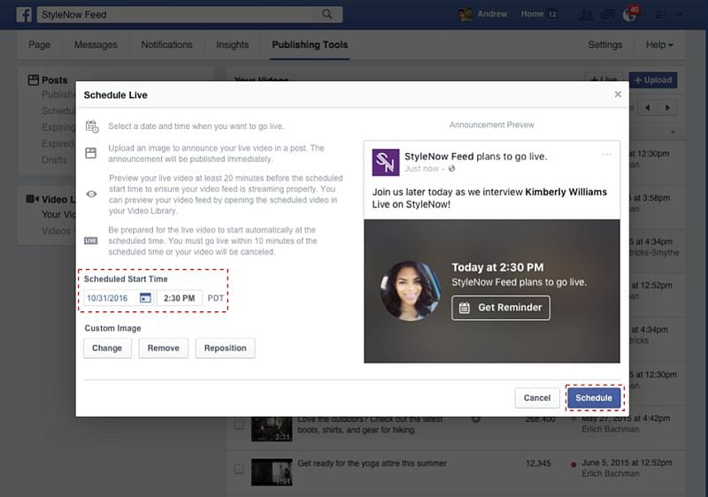 Facebook Now Allows Pages to Schedule Live Videos