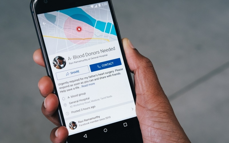 Facebook will make it easier to find blood donors starting October 1